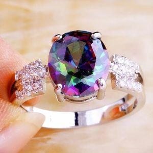 ❤️gorgeous oval cut rainbow amethyst gemstone rin